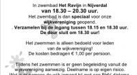 Het management van het Ravijn heeft besloten dat het zwemmen op zaterdag 14 maart niet door kan gaan in verband met het Corona virus.